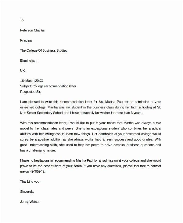 Business School Recommendation Letter Sample Elegant 7 Sample College Re Mendation Letters