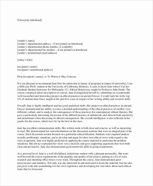 Business School Recommendation Letter Sample Elegant 7 Sample Re Mendation Letter formats