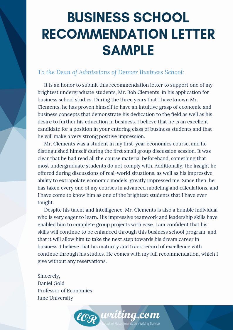 Business School Recommendation Letter Sample Fresh Professional Business School Re Mendation Letter Sample
