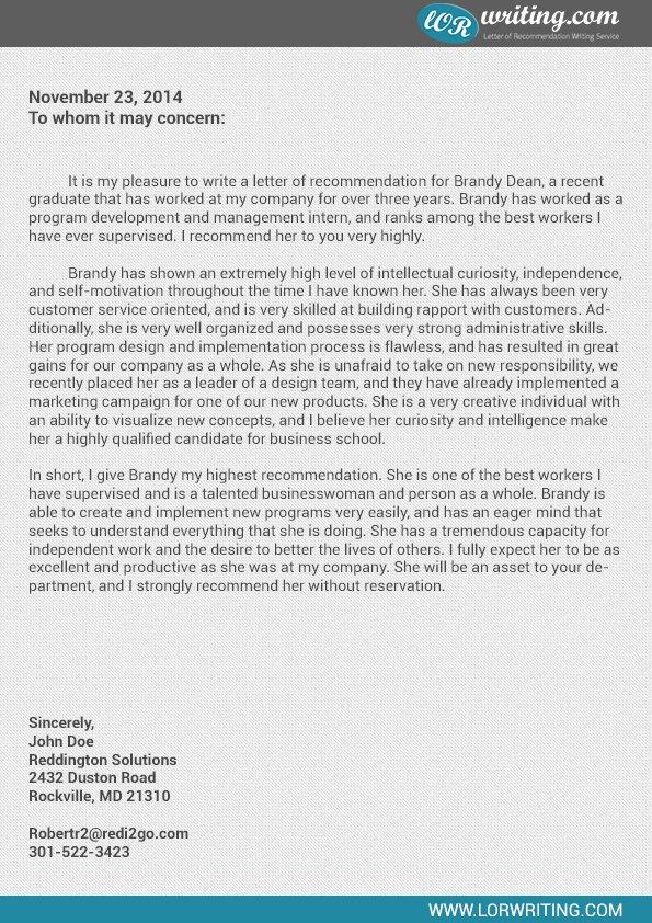 Business School Recommendation Letter Sample Inspirational Professional Business School Re Mendation Letter Sample