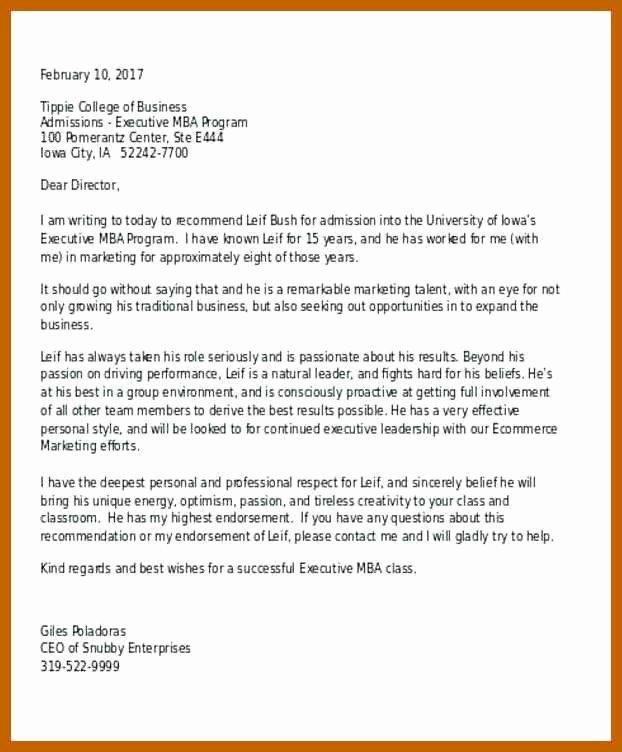 Business School Recommendation Letter Sample Luxury 2 3 College Re Mendation Letter Sample