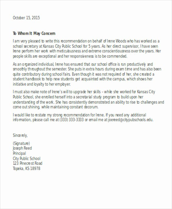 sample school reference letter
