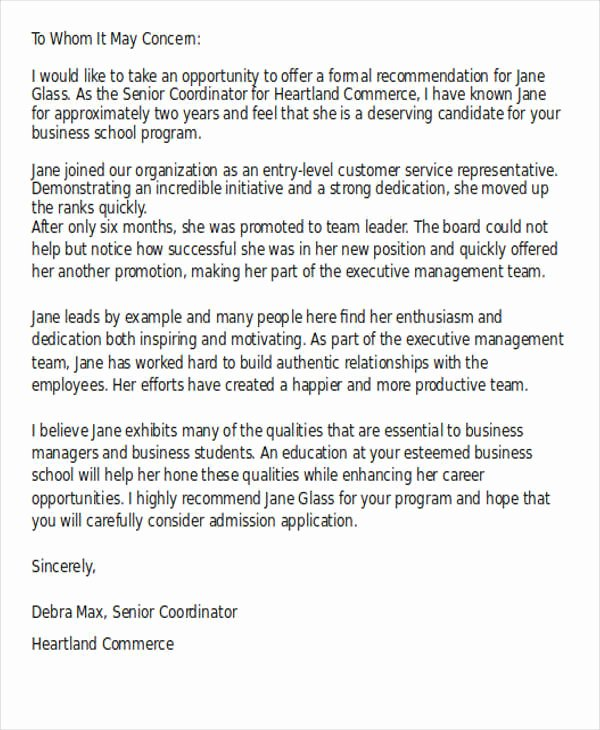 Business School Recommendation Letter Sample Unique 40 Re Mendation Letter format Templates