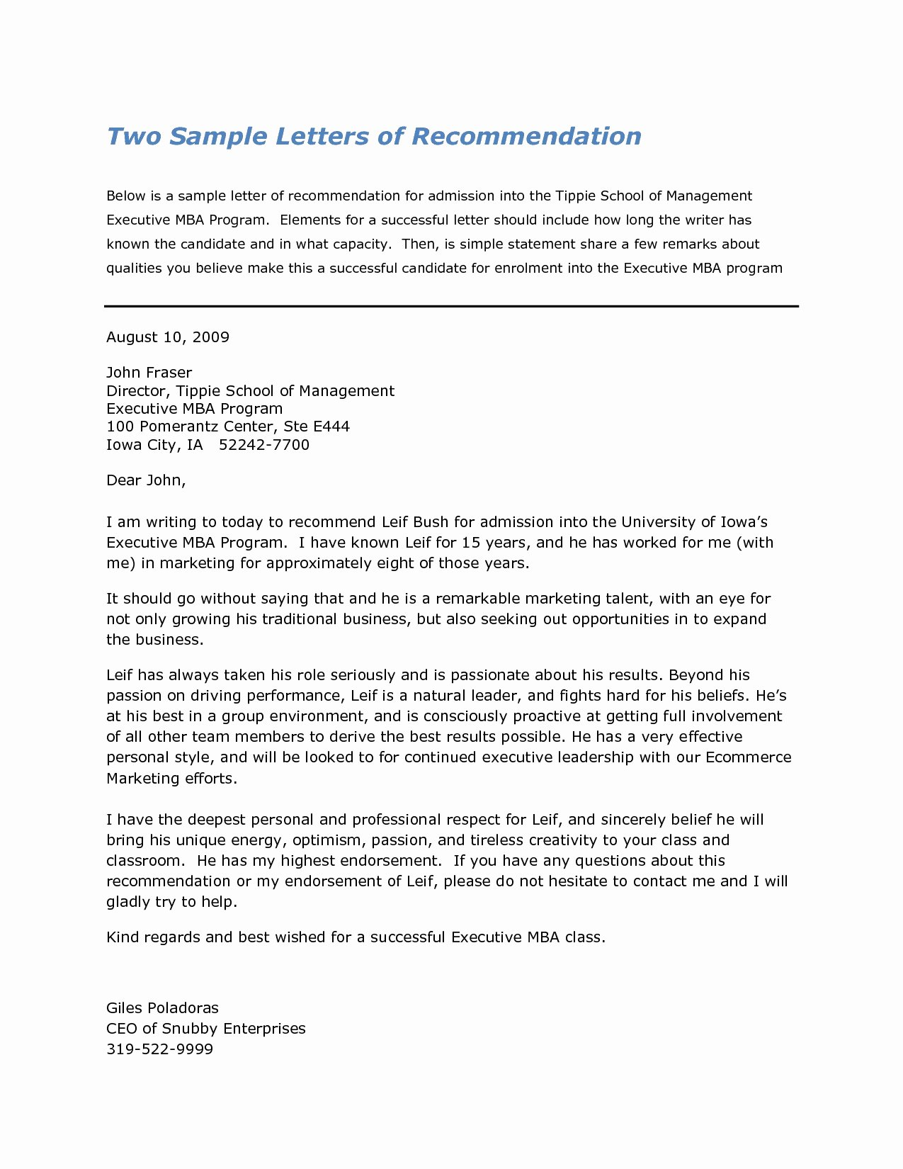 Business School Recommendation Letter Sample Unique Sample Re Mendation Letters for Business School