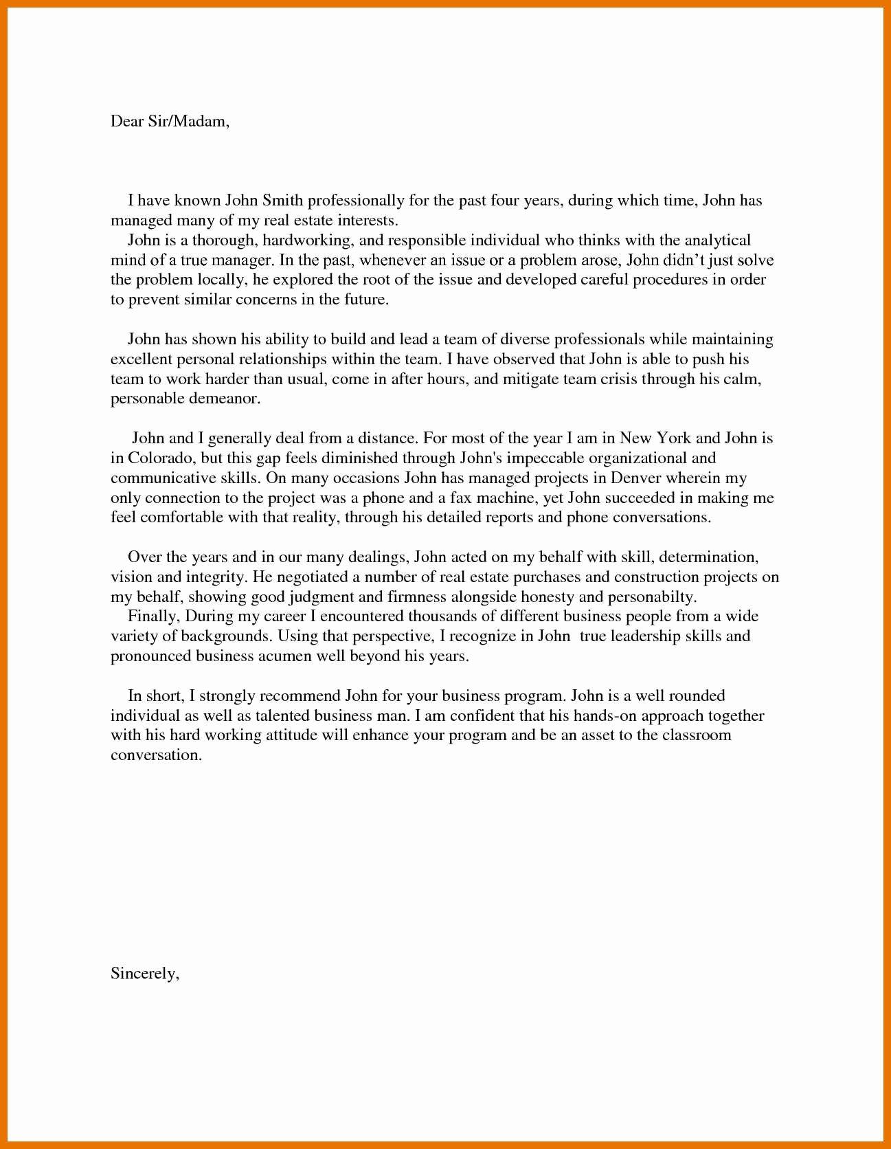 Business School Recommendation Letter Unique 5 6 Mba Letter Of Re Mendation Sample