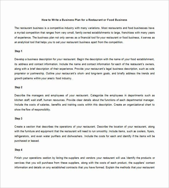 restaurant business plan word