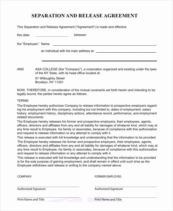 California Separation Agreement Template Awesome Separation Agreement form