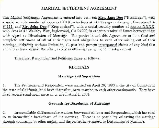 California Separation Agreement Template Beautiful Marriage Settlement Agreement Template California Marriage