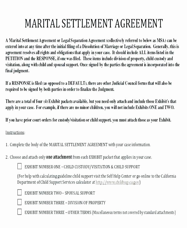 California Separation Agreement Template Best Of Example Divorce Papers