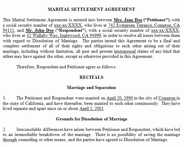 California Separation Agreement Template Best Of Marital Settlement Agreement