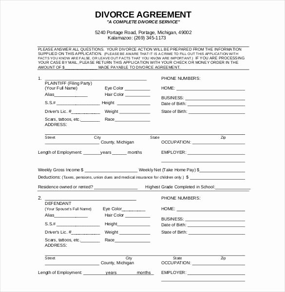 example of divorce papers