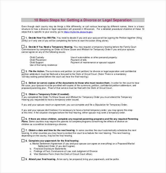 California Separation Agreement Template Inspirational 12 Divorce Agreement Templates Pdf Doc