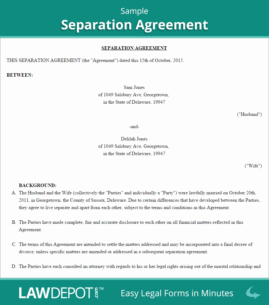 California Separation Agreement Template New Separation Agreement Template Us Lawdepot