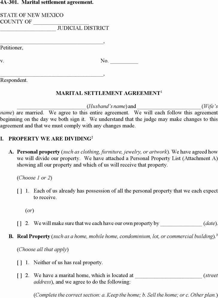 California Separation Agreement Template Unique Marital Settlement Agreement Template Settlement Agreement