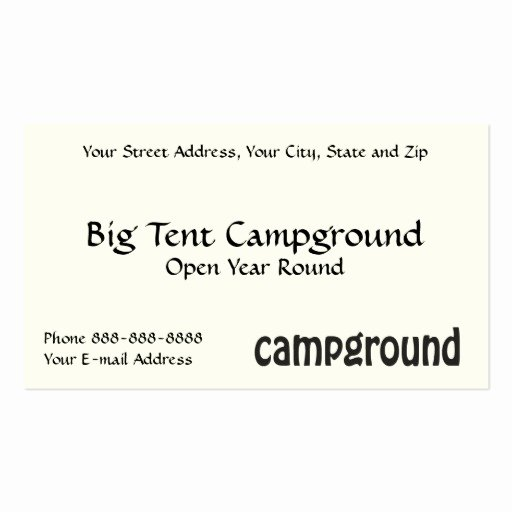 Campground Business Plan Template Awesome Campground Business Card Templates