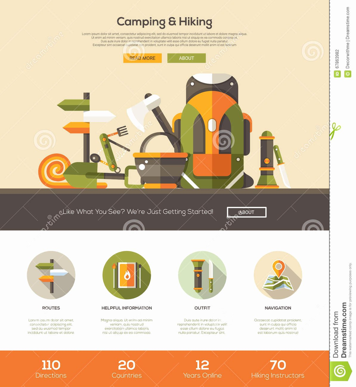 Campground Business Plan Template Best Of Camping Hiking Website Template with Header and Icons