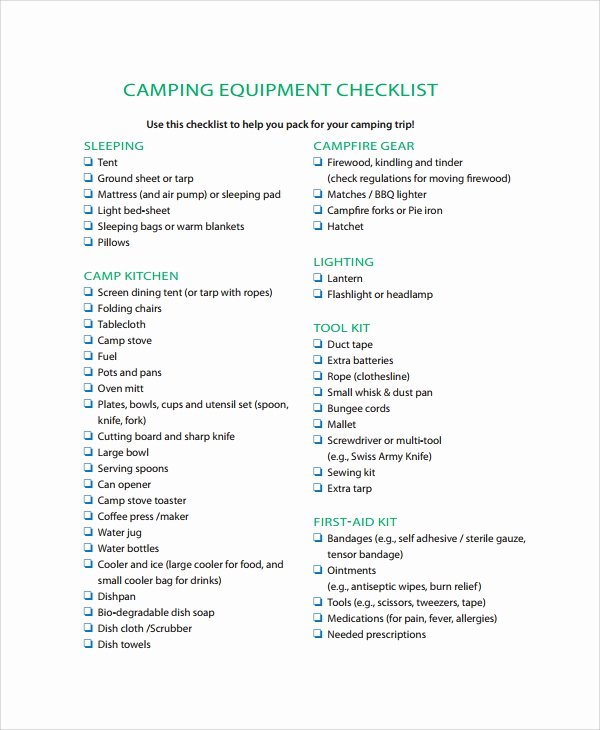 Campground Business Plan Template Fresh Sample Equipment Checklist 8 Free Documents Download In
