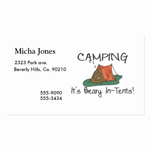 Campground Business Plan Template Lovely Camping is Beary In Tents Double Sided Standard Business