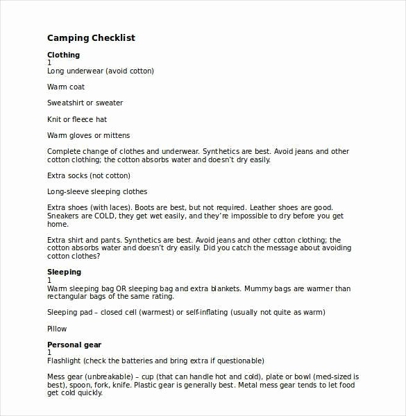 Campground Business Plan Template Unique 30 Word Checklist Template Examples In Word