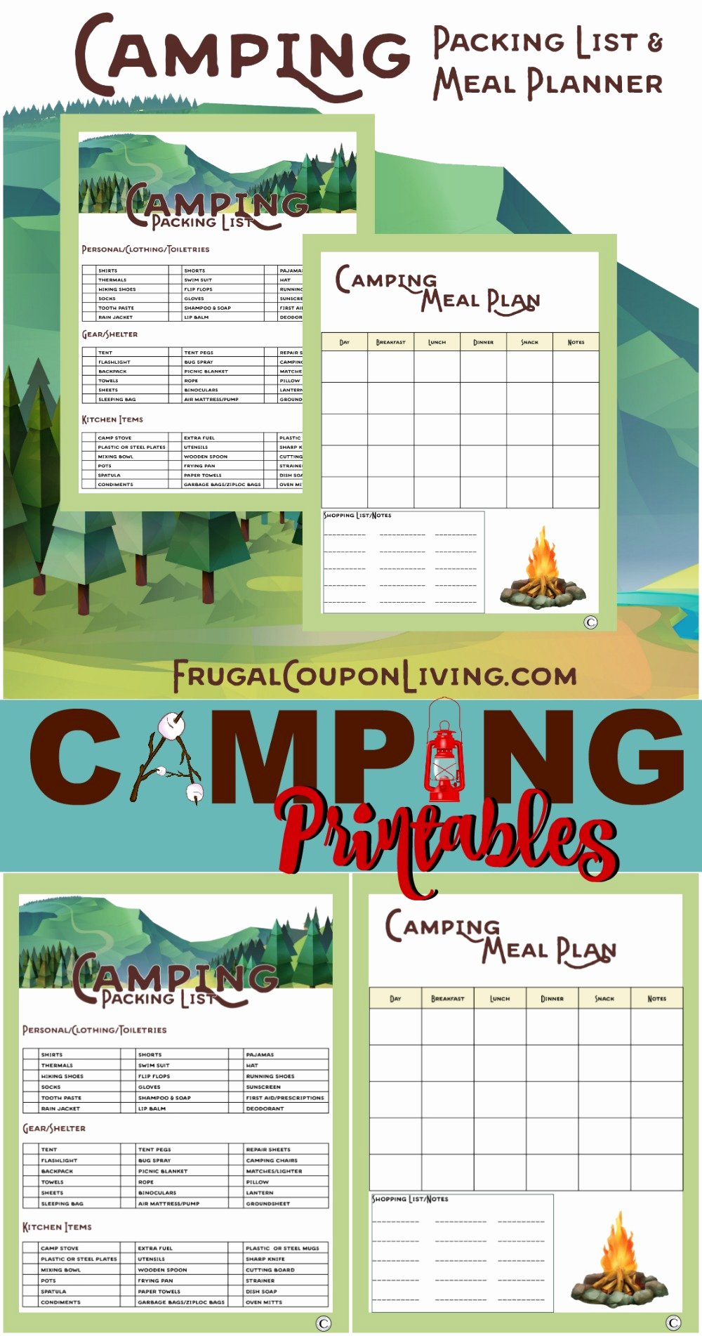 Camping Meal Plan Template Inspirational Camping Printables Packing List and Meal Planner