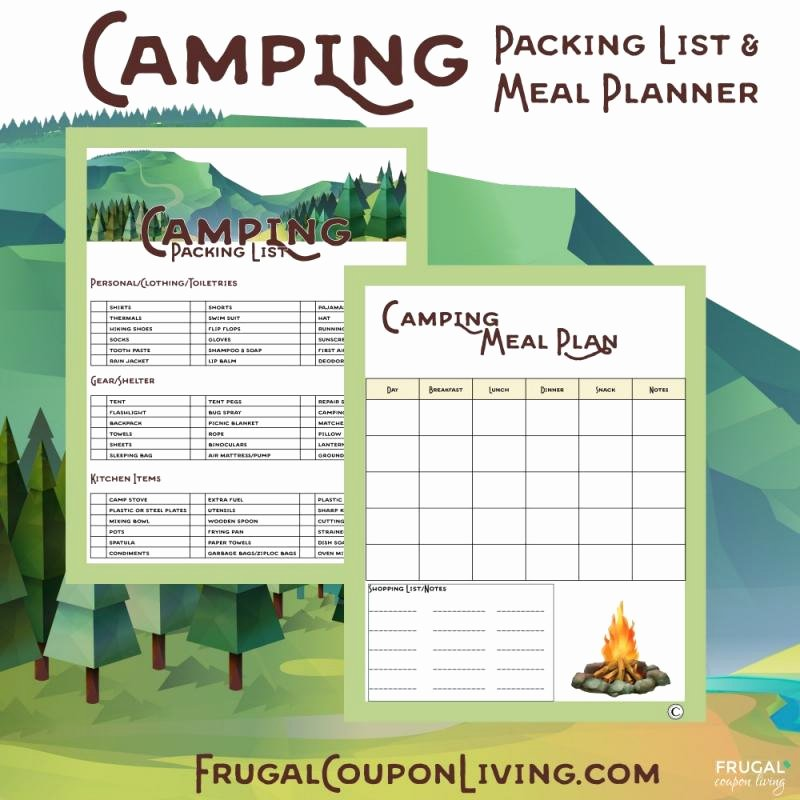 Camping Meal Plan Template Lovely Meal Planning Template with Grocery List