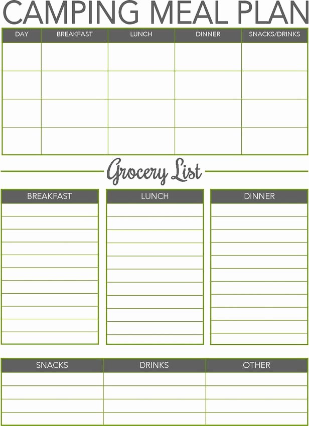 Camping Meal Plan Template Unique 277 Best Camping Checklists Images On Pinterest
