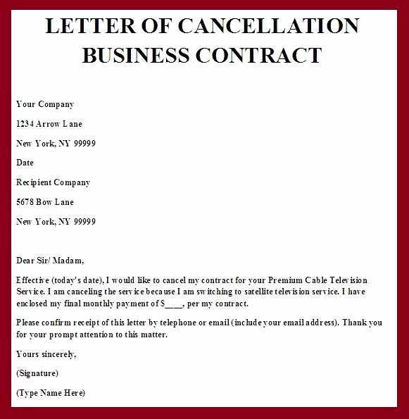 Cancel Timeshare Contract Sample Letter Inspirational Printable Sample Contract Termination Letter form