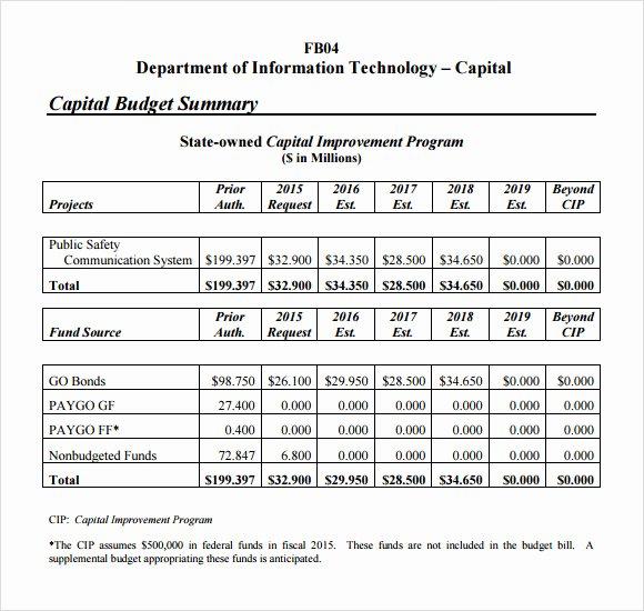 Capital Improvement Plan Template Elegant 7 Bud Summary Samples