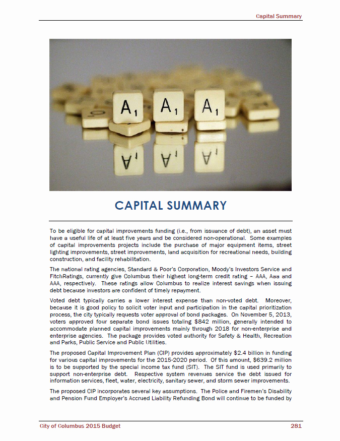 Capital Improvement Plan Template Lovely Fy15 Operating Bud Proposal