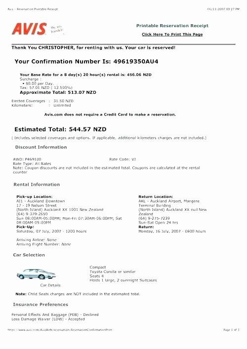 Car Rental Receipt Template Fresh Avis Rent A Car