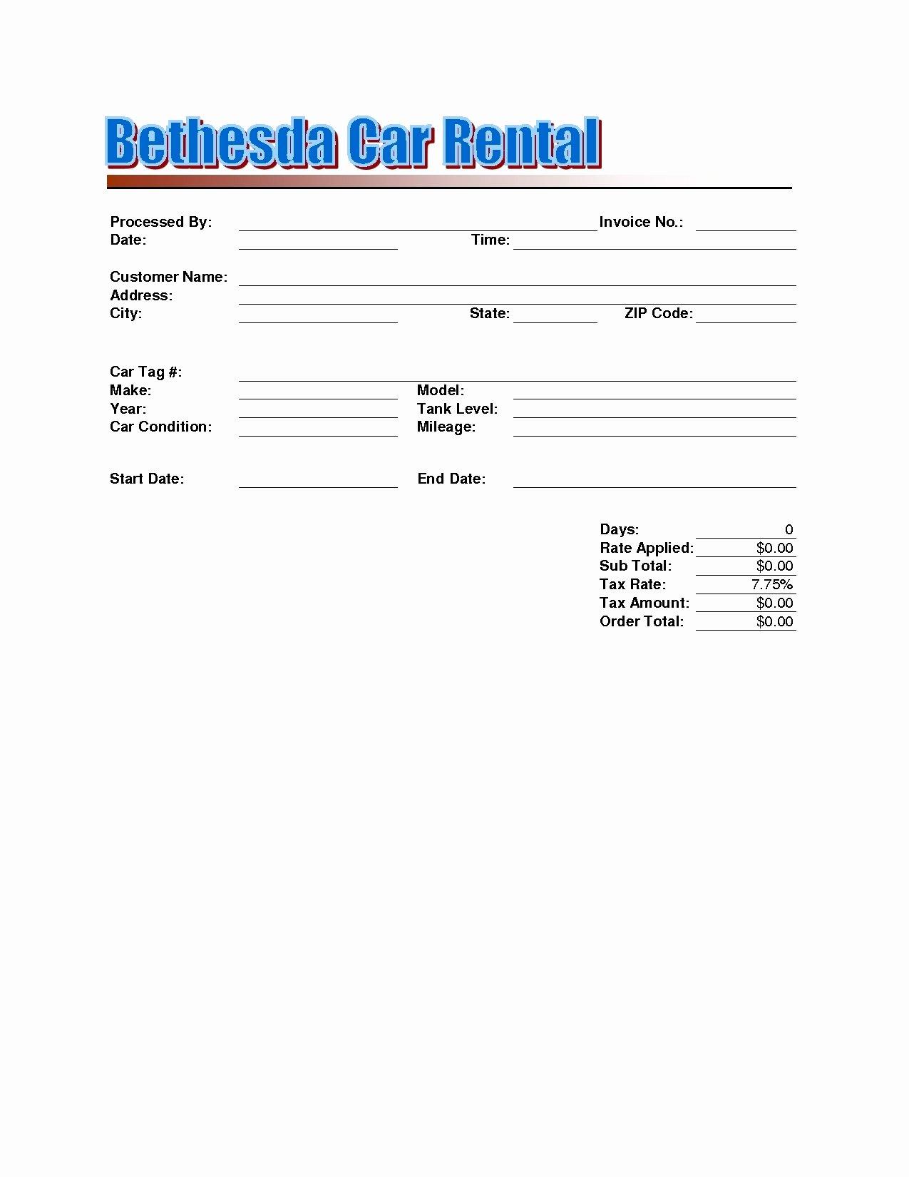 Car Rental Receipt Template New Rent A Car Invoice Invoice Template Ideas