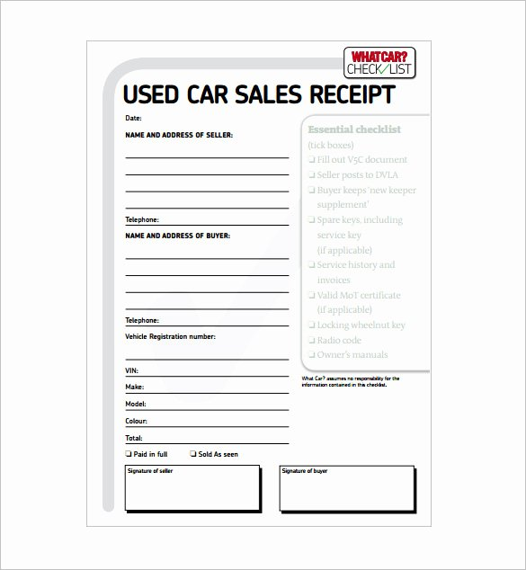 Car Sale Receipt Template New 28 Sales Receipt Templates Doc Excel Pdf