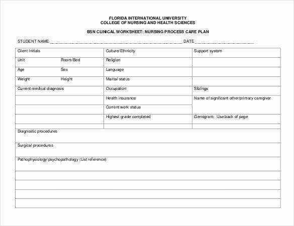 Care Plan Template Nursing Elegant Nursing Care Plan Template