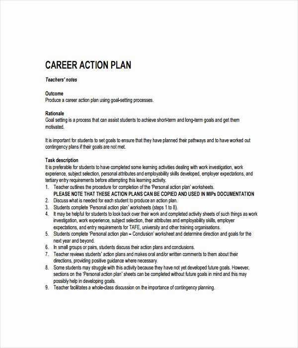 Career Action Plan Template Best Of 21 Plan Templates Free Word Pdf Documents Download
