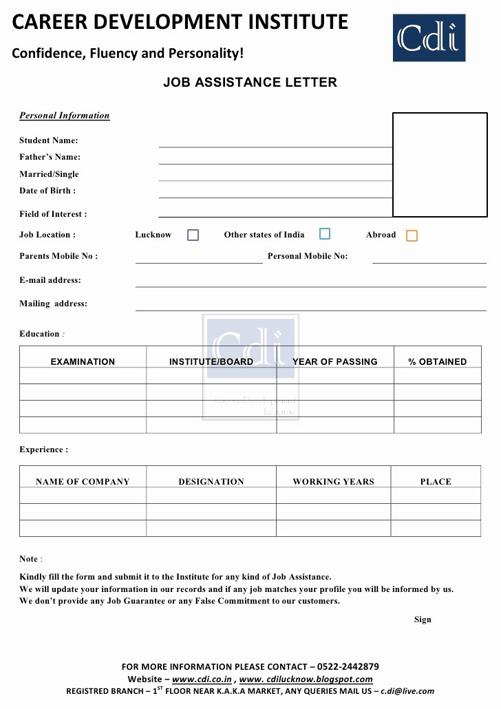 Career Action Plan Template Elegant Job assistance form Learn English Grammar Cdi Lucknow
