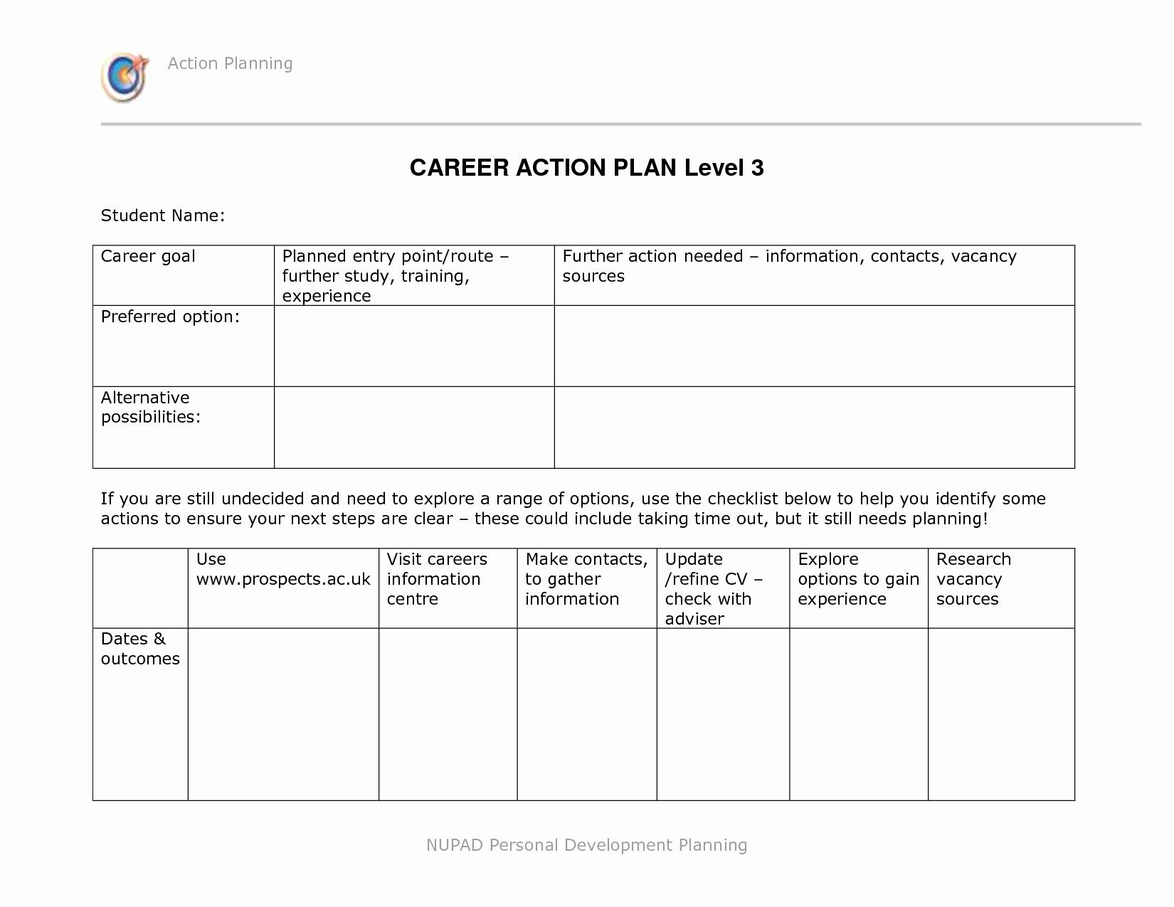 Career Action Plan Template Lovely Pin Career Development Plan Template for High School