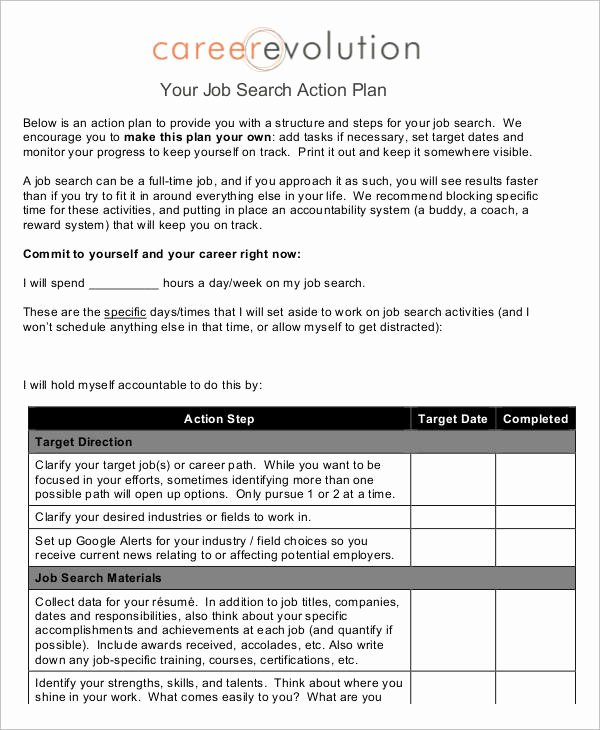 Career Action Plan Template New Job Plan Templates 10 Free Samples Examples format