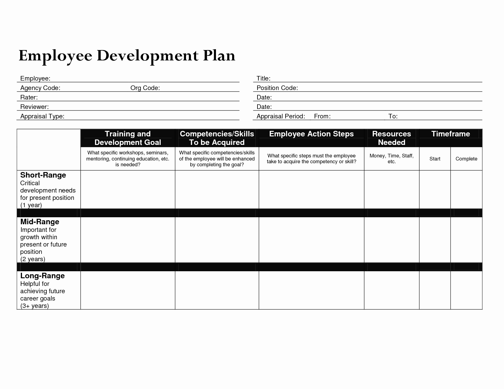 Career Development Plan Template New Development Plan Template for Employees