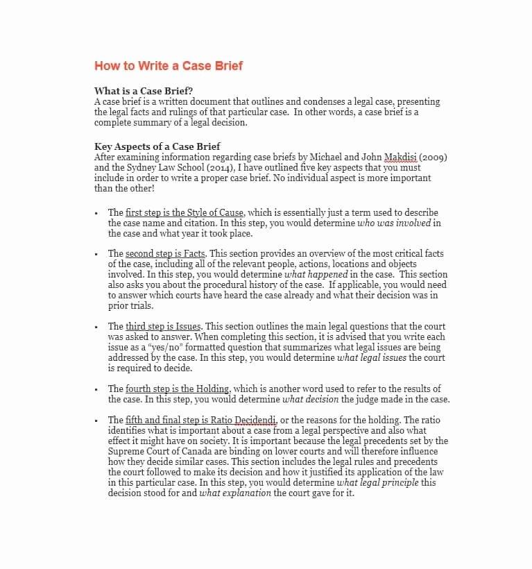Case Brief Template Microsoft Word Beautiful 40 Case Brief Examples & Templates Template Lab