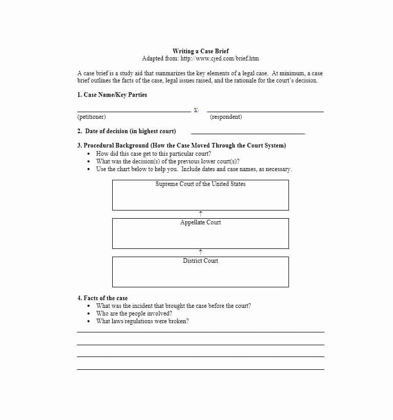 Case Brief Template Microsoft Word New 40 Case Brief Examples & Templates Template Lab