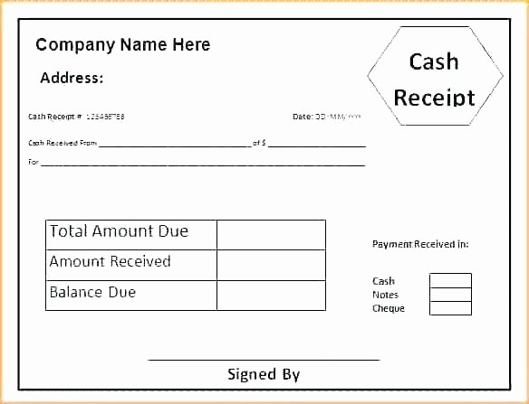 Cash Receipt format In Excel Awesome Printable Cash Receipt Template Free format In Excel