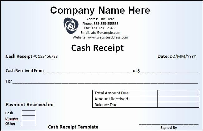 Cash Receipt format In Word Best Of Cash Receipt Template