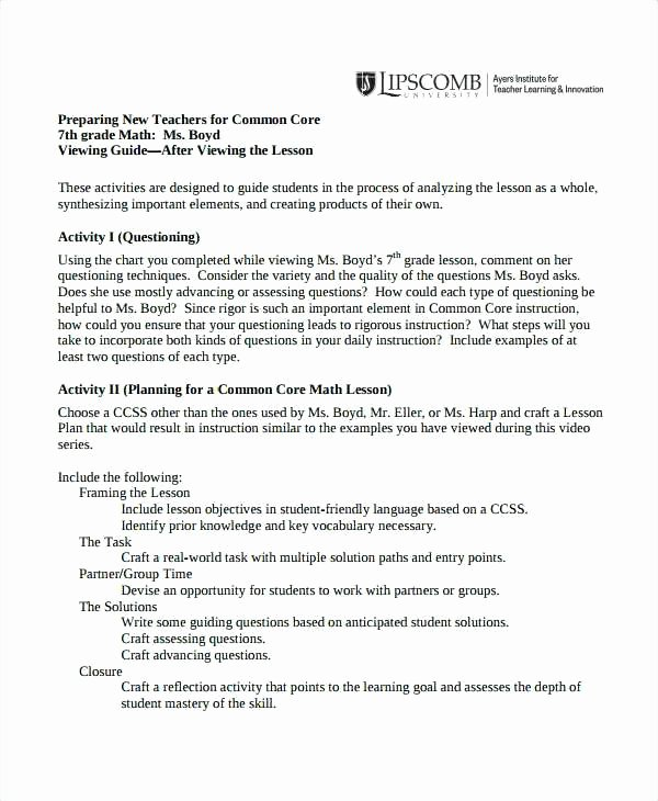 Ccs Lesson Plan Template Fresh Ccss Math Lesson Plan Template – Kazakiafo