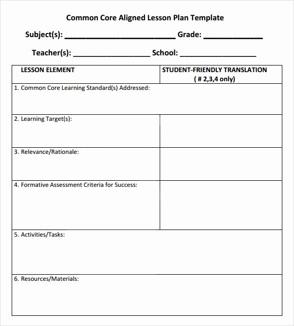 Ccs Lesson Plan Template Lovely 7 Sample Mon Core Lesson Plan Templates to Download