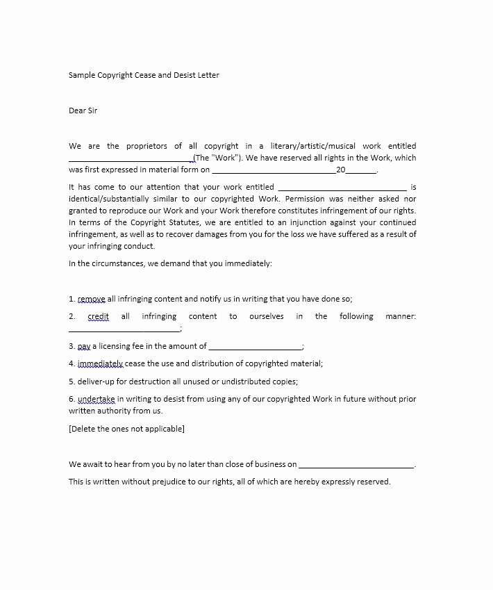 Cease and Desist Copyright Best Of 30 Cease and Desist Letter Templates [free] Template Lab