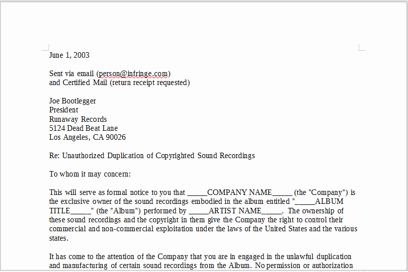 Cease and Desist Copyright Best Of Cease and Desist Letter – Linemusiccontracts