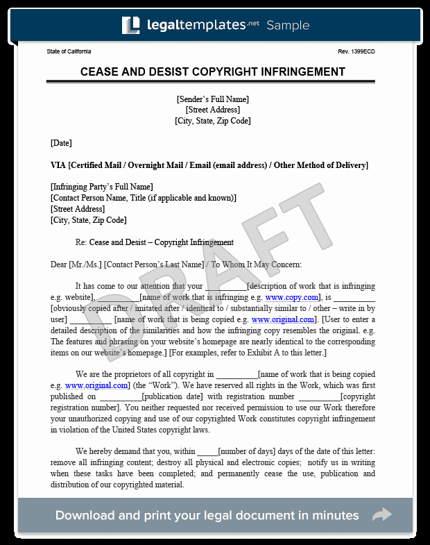 Cease and Desist Copyright Luxury Cease and Desist Letter C&d
