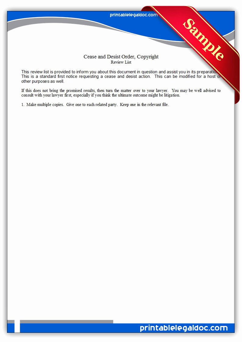 Cease and Desist Copyright Unique Free Printable Cease & Desist Notice Copyright form Generic