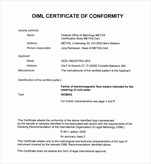 Certificate Of Conformance Template Pdf Awesome 13 Conformity Certificate Templates to Download