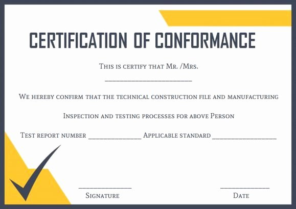 Certificate Of Conformance Template Pdf Awesome Certificate Of Conformance Template 10 High Quality